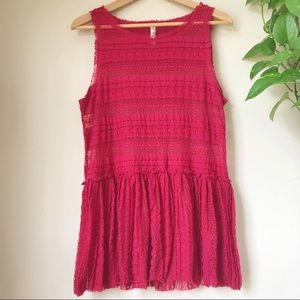 FREE PEOPLE Pucker Lace Stretch Peplum Tank Red S